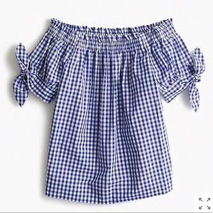 J. Crew Off The Shoulder Top in Gingham